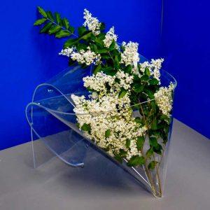 Espositore vaso plexiglass per fiori secchi