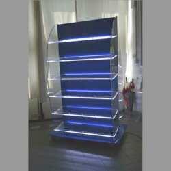 Mobile plexiglass double face illuminato a led con ruote