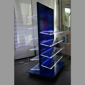 Mobile espositore in plexiglass con ruote e led