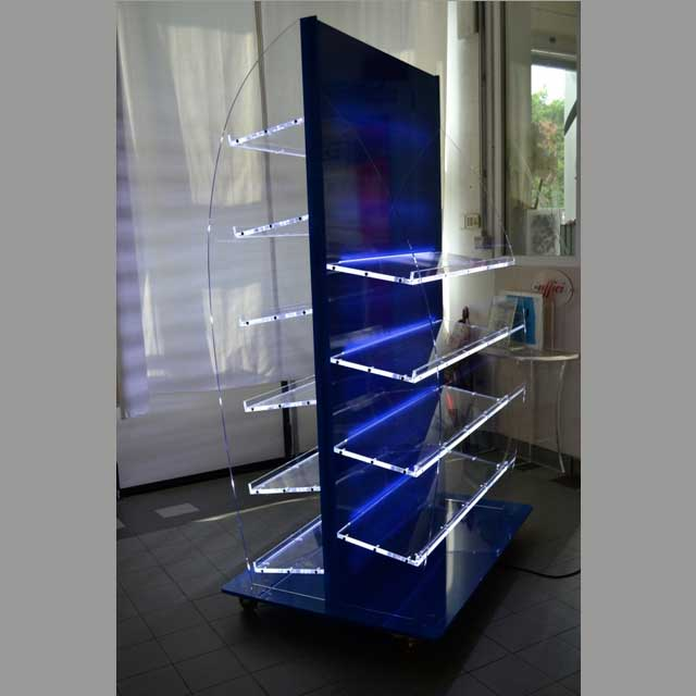 Mobile espositore in plexiglass con ruote e led