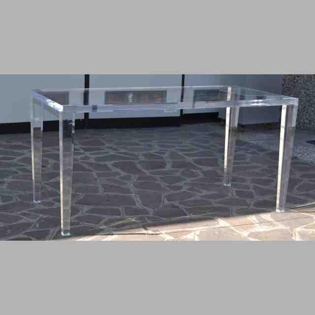 Tavolo plexiglass trasparente massello con piedi affusolati per la casa o il negozio