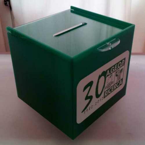 Urne plexiglass vert collecte fonds Onlus