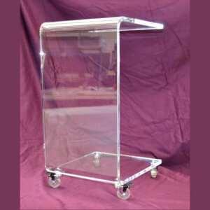 """Carrello di servizio plexiglass multiuso molto comodo in casa. Trasparente, la sua forma a """"U"""" gli permette di incastrarlo sotto un mobile"""