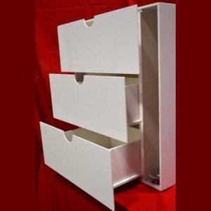 Meubles plexiglass blanc à tiroir et roulettes