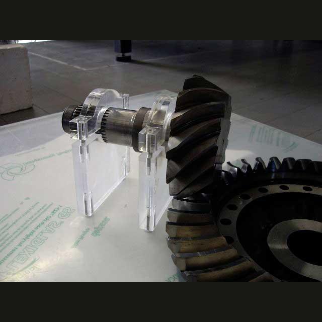 espositore plexiglass bloccante per ruote dentate