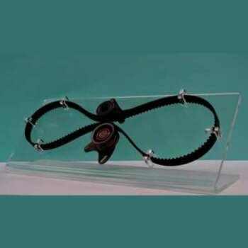 """Espositore plexiglass cinghia di distribuzione leggera che deve essere alzata in aria per vedere recto verso per cui delle """"L"""" rovesciate"""