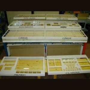 espositore plexiglass profumerie per inserimento campioni