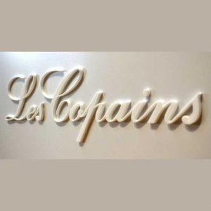 Plaque plexiglass sablé blanc sur blanc en relief Les Copains