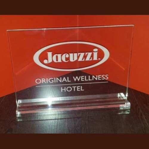 targa plexiglass promozionale Jacuzzi con supporto