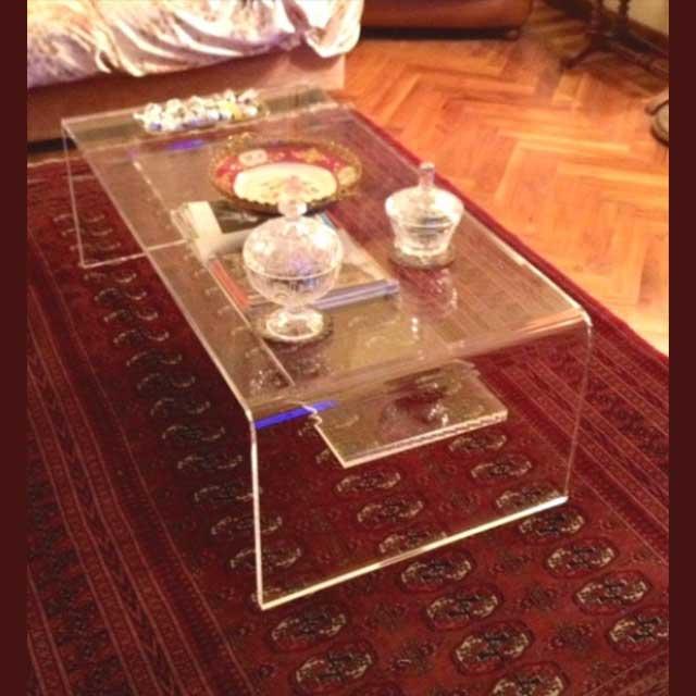 tavolo plexiglass salotto trasparente ripiano stretto