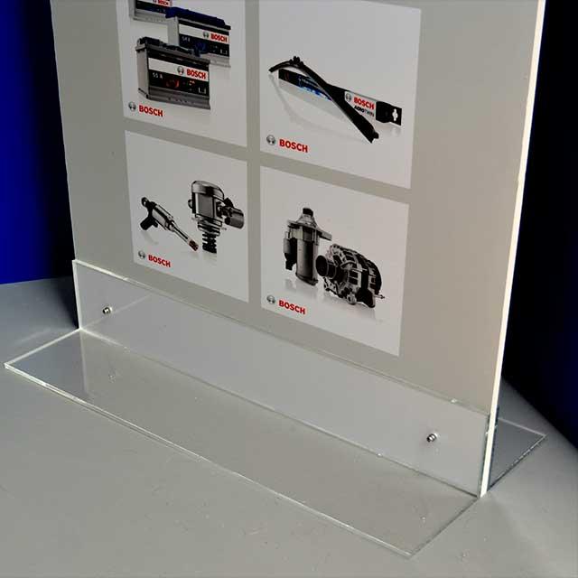Totem publicitaire PVC light 2 faces base plexiglass transparent détail
