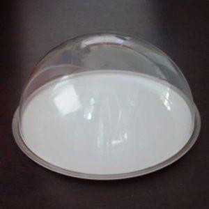 Cupola plexiglass vassoi alimentari è una mezza sfera di 3 mm di spessore, se é senza bordo aggiungiamo una presa in plexiglass sopra