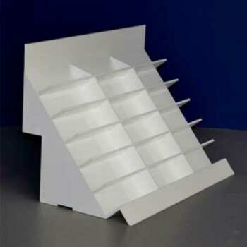 Présentoiren plexiglas magasin d'optique incliné à escaliers, encoches pour s'encastrer sur le rayon, seul ou aligné pour file d'exposition