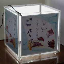 Lampe à cube porte-photo plexiglas avec une seconde paroi sur les 4 côtés. Le décor de la lampe suit les tout petits quand ils grandissent.