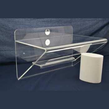 Bella mensola plexiglass ripiegata con nicchia in 10 mm. Molto articolata riunisce in un solo prodotto mensola, reggi mensola e una nicchia