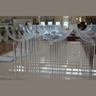 """Support publicitaire plexiglass pour Euro en PVC light, transparent de 3, 5 et 10 mm, H60 pvc light rond de 25 cm, imprimé monnaie avec """"€""""."""