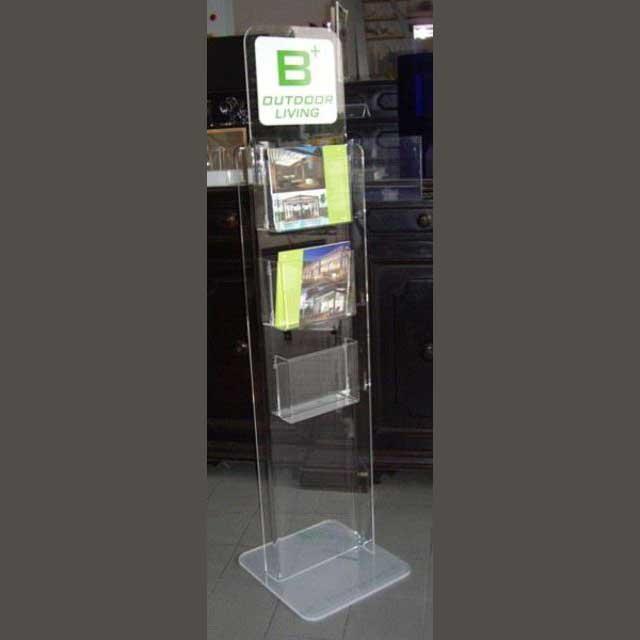 Porte-dépliant plexiglass de sol 2 faces