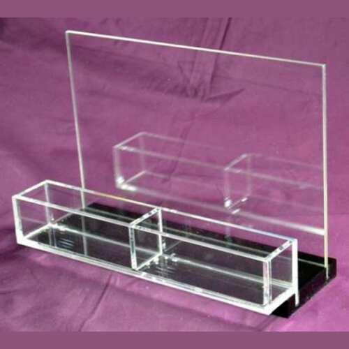 Porte-dépliant plexiglass noir parfumerie 2 poches
