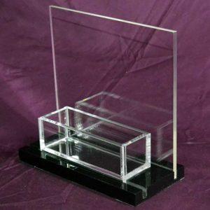 Porte-dépliant plexiglass noir parfumerie 1 poche