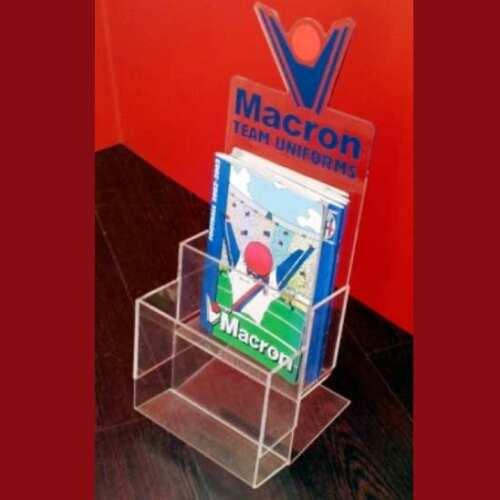 porta dépliant plexiglass trasparente due tasche Macron