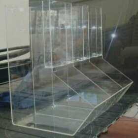 Distributeur silos plexiglas vente de café un seul distributeur composé de 3 silos pour vendre du café en grains. Présentoirs transparents de 80 cm de haut en transparent de 5 mm.