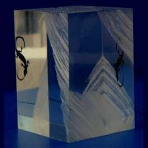 Presse-papier design plexiglas sculpté. Le bloc a été profondément entaillé sur certaines parties et ajout d'un petit animal, un gecko noir