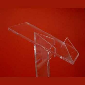 Leggio plexiglass da terra colonna angolare in plexiglass realizzato in trasparente luminoso da 10 mm. La sua forma è raffinata e slanciata