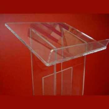 """Dettaglio del Leggio plexiglass da terra colonna doppia con tramezzo a """"H"""", così è esteticamente più larga. Interamente in trasparente da 10 mm"""