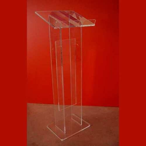 Leggio plexiglass da terra colonna doppia con tramezzo