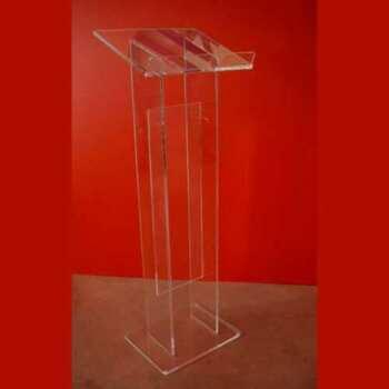 """Leggio plexiglass da terra colonna doppia con tramezzo a """"H"""", così è esteticamente più larga. Interamente in trasparente da 10 mm"""