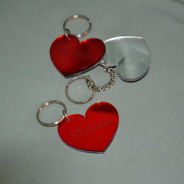 Portachiave plexiglass specchio rosso e argento