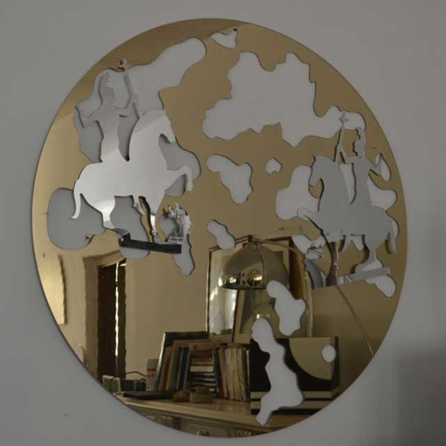 Cadre decor plexiglass miroir doré rond