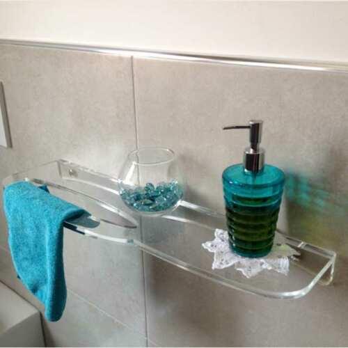 mensola plexiglass trasparente traforata porta salvietta x bagno