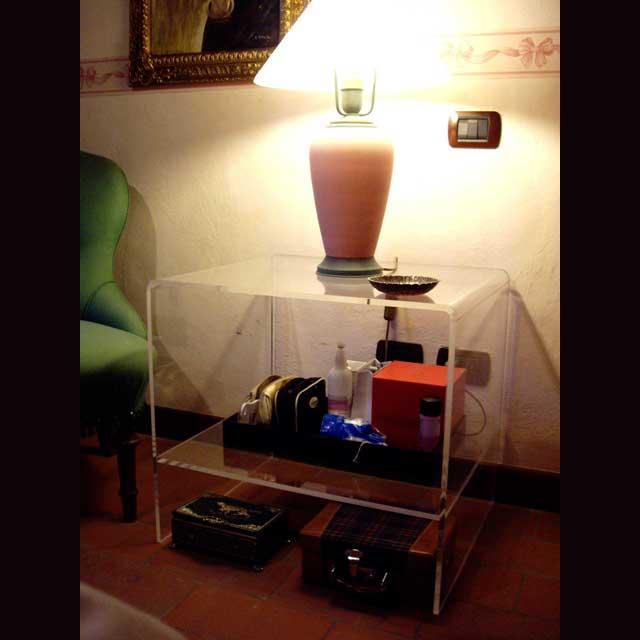 table de chevet carrée plexiglass thermoformé 1 étagère