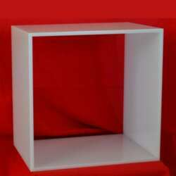 Cubes modulaires plexiglas blanc opale et petits meubles pour créer la déco, esthétique, angle TV, armoire à pharmacie, à sèche cheveux, fer à lisser