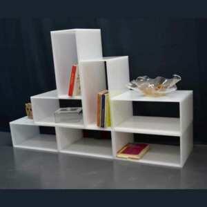 Cubes plexiglas composition de salon blanc opale, 7 les mêmes, ajoutez-en d'autres dans le temps. Solides,10mm, ils supportent votre poids!