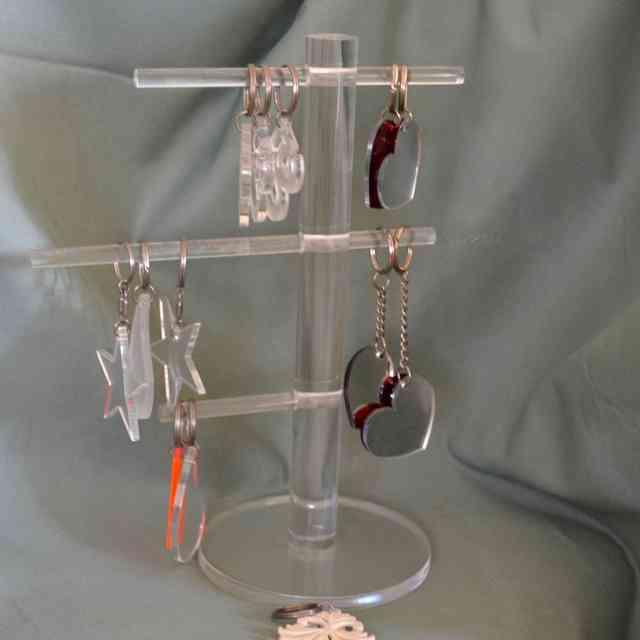 Espositore portachiavi plexiglass trasparente barre tonde regolabili