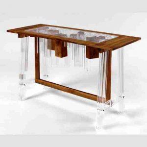 Tavolo plexiglass trasparente e legno pregiato