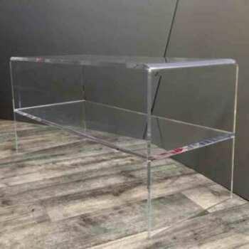 """Table basse plexiglas pliée transparente de salon à """"U"""" inversé toute en transparent de 15 mm. C'est l'une des formes les plus demandées"""