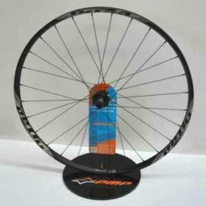 Présentoir plexiglas noir porte roue, petit, mais il supporte une roue de vélo, il est spectaculaire avec sa roue et il a un coût contenu.