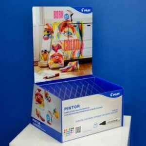 Espositore plexiglass Pilot Pintor blu luminoso e trasparente, riciclabile, su misura, prodotto con qualità, artigianalmente, in serie