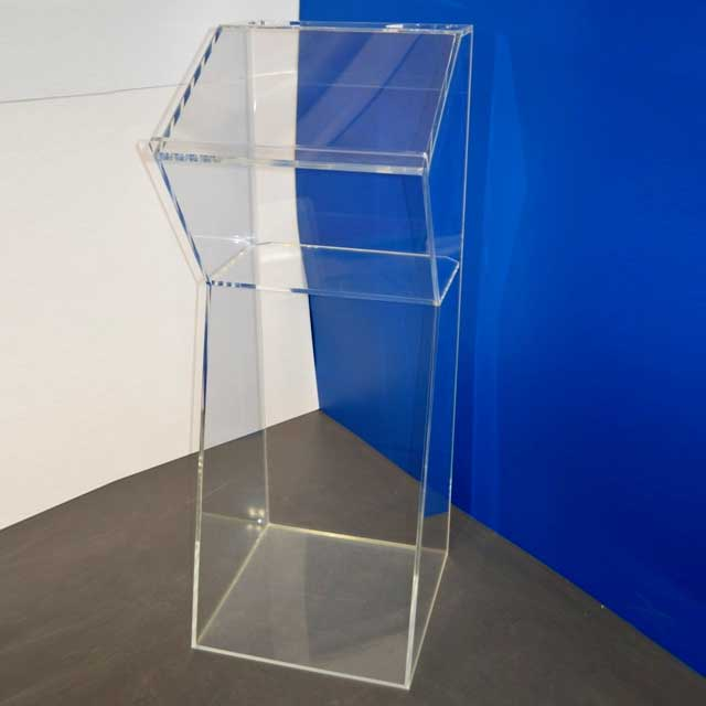 Leggio Podio plexiglass a 2 comparti trasparente