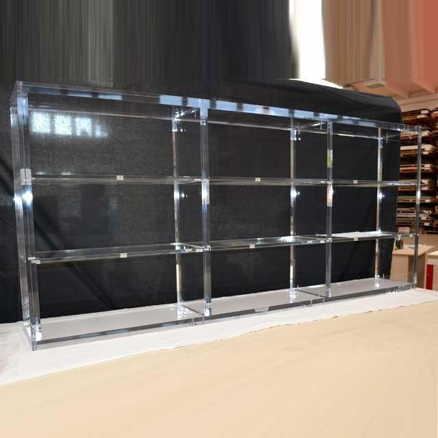 Libreria bassa plexiglass massello 9 moduli