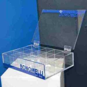 scatola plexiglass coperchio e divisori Bonomelli aperta