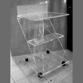 Chariot plexiglass thermoformé équipement médical pour cabinet médical, laboratoire, centre de beauté et soins, lavable, hygiénisable,