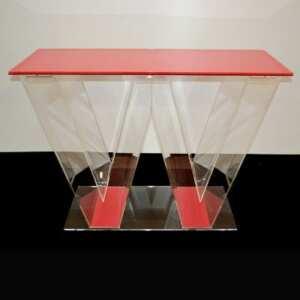 Comptoir plexiglass pour stand expo riche de luminosité et couleur pour les expositions et l'événementiel du brand suisse WEKERLE Cosmetics