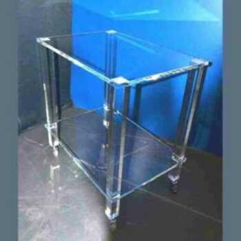 carrello di servizio di pregio in plexiglass trasparente