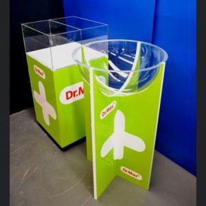 espositore pannelli leggeri cestone mezza sfera plexiglass