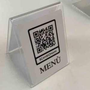 support Menu-QR-Code-support plexiglas lavable désinfectable