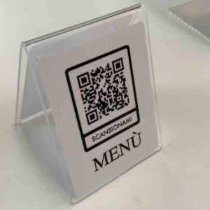 ristorante menu qr code plexiglass lavabile